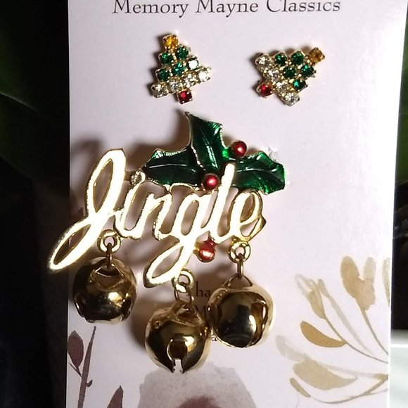 Christmas brooch and earrings jingle vintage